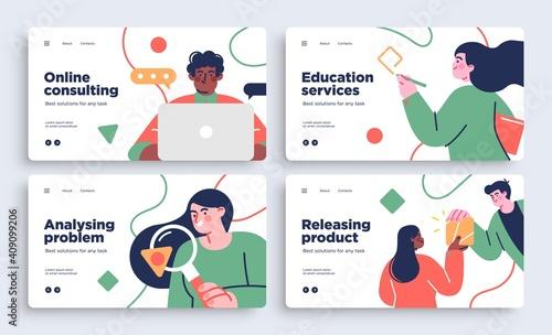 Set of Presentation slide templates or landing page websites design. Business concept illustrations. Modern flat style. © stonepic