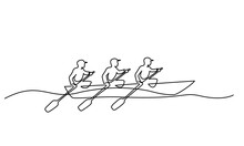 Team Member Rowing Boat Teamwork Concept. Continuous One Line Drawing