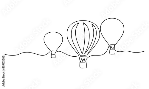 Hot air balloons flying in sky sign. Continuous one line drawing Fototapet