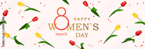 Obraz 8 march. Happy Women's Day horizontal banner for the website with background of spring flowers tulips. Postcard on March 8. Vector illustration - fototapety do salonu