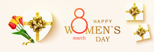 Happy Women's Day Horizontal Banner For The Website. Postcard On March 8. Romantic Background With Realistic Design Elements, Gift Box, Balloons In The Shape Of Heart And Bouquet Tulips.