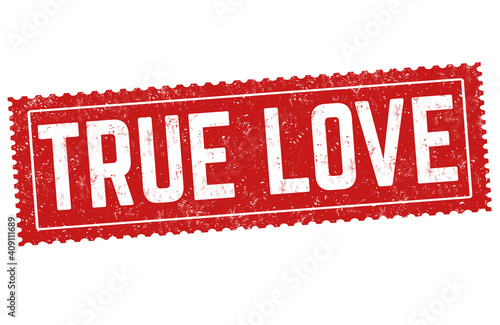 Photo True love grunge rubber stamp