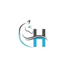 Letter H Icon Logo With Horse Illustration Design