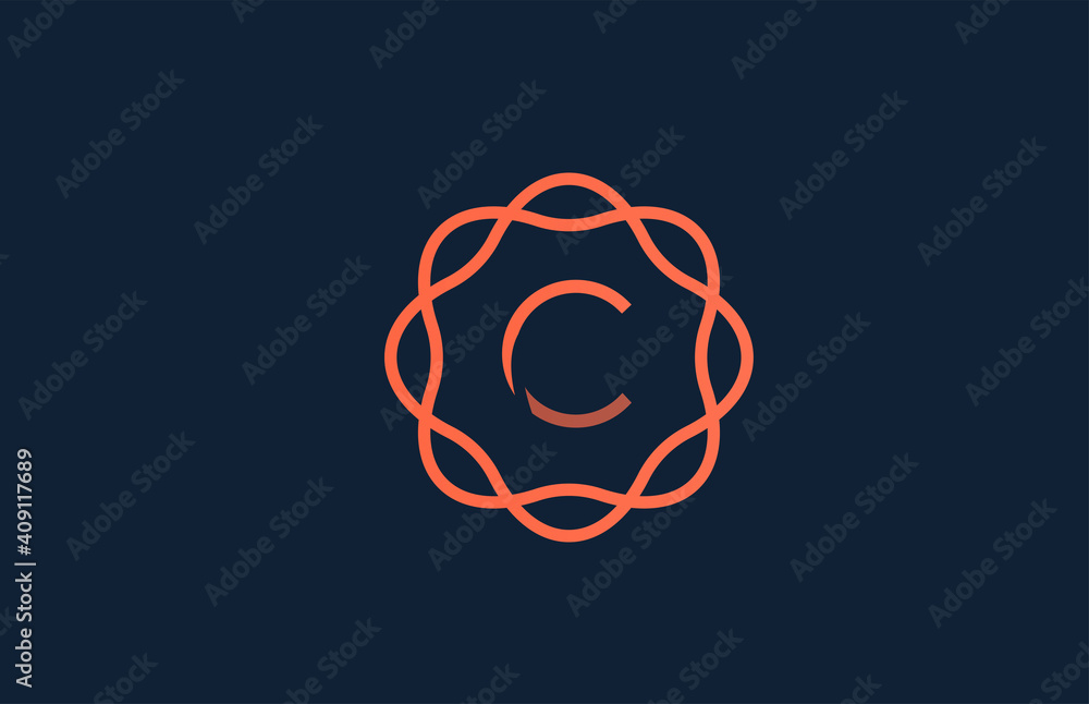 Fototapeta C orange monogram floral alphabet letter logo for business and company. Branding for corporate identity. Creative lettering icon for design
