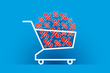 Many Red Percent Signs Are Stacked In Shopping Cart