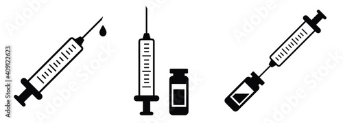 Foto Syringe vaccination injection vector icons