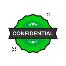 Confidential Important Badge Green Stamp Icon In Flat Style On White Background. Vector Illustration.