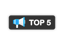 Megaphone TOP 3 Banner In Flat Style On White Background On White Background. Year Anniversary. Vector Illustration.