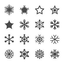 Winter Linear Icon Monochrome Set. Fine Winter Ornament. Snowflakes Collection. Simple Black Design Elements. Snowflake Simple Contour Vector Symbol.