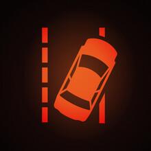 Lane Departure Warning Light Sign On Car Dashboard Vector Illustration.