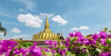 Pha That Luang Vientiane, Laos. That-Luang Golden Pagoda In Vientiane, Laos. Pha That Luang At Vientiane. Blue Sky Backgroung Beautibul.