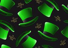 St. Patrick's Day Hat Seamless Pattern, Character Design For Banner Or Webside, Illustration Celebration Party Poster Design On Green Background.
