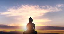Buddha Statue Meditation On Mountain Sunlight.