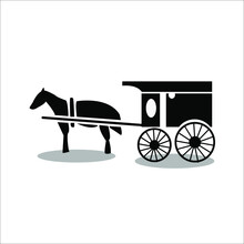 Flat, Isolated And Trendy Horse-drawn Carriage. Horse Carriage Background For Your Website Design Logo, App, UI. Vector Icon Illustration, EPS10.