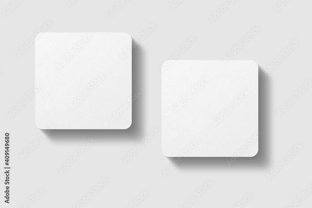 Fototapeta Realistic blank square business card illustration for mockup