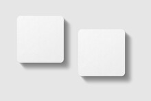 Realistic Blank Square Business Card Illustration For Mockup