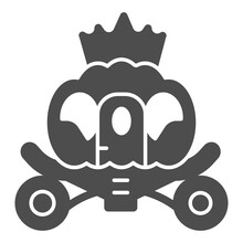 Cinderella Carriage Solid Icon, Fairytale Concept, Fairy Brougham Sign On White Background, Chariot Icon In Glyph Style For Mobile Concept And Web Design. Vector Graphics.