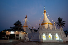 Wat Phra That Doi Kong Mu It Is A Temple And Relics Of Mae Hong Son Province, Thailand, Burmese-style Temple At Dusk. Twilight Sky With Beautiful Light Bulbs Decoration.