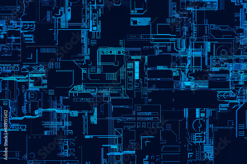 Fotografie, Obraz 3d illustration of a pattern in the form of a metal, technological plating of a spaceship or a robot
