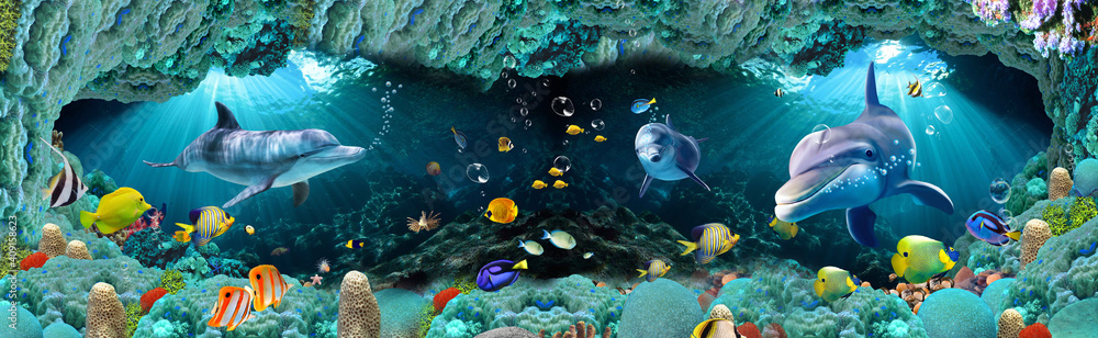 Fototapeta 3D Underwater Colorful fishes living room wallpaper, 3d illustration for wall decoration High quality wall art.