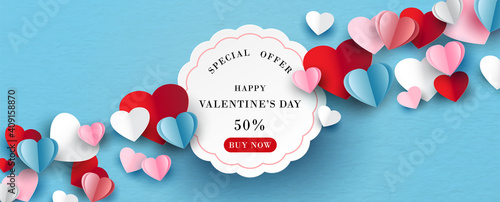 Tela Colorful hearts with white banner and space for texts in paper cut style on blue paper pattern background