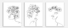 Woman Head With Flowers One Line Drawing Prints Set. Creative Contemporary Abstract Line Drawing. Beauty Fashion Female Faces. Vector Minimalist Design For Wall Art, Print, Card, Poster.