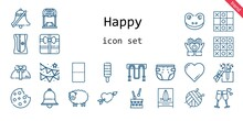 Happy Icon Set. Line Icon Style. Happy Related Icons Such As Gift, Garland, Cookie, Drum, Bell, Heart, Popsicle, Jumping Rope, Cupid, Ball, Frog, Sharpener, Tic Tac Toe, Beach