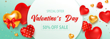 Sale Valentine Poster, Great Design For Any Purposes. Vector Design Elements. Shopping Event Typography Illustration. 3D Realistic Vector, Flyer, Banner.
