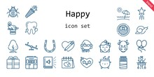 Happy Icon Set. Line Icon Style. Happy Related Icons Such As Gift, Snail, Audiobook, Confetti, Large, Balloons, Tree, Cow, Ladybug, Heart, Horseshoe, Swing, Sticks, Teacher, Walrus, Beach, Baby