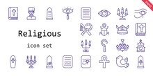 Religious Icon Set. Line Icon Style. Religious Related Icons Such As Eye, Pigeon, Bible, Egypt, Chandelier, Candelabra, Church, Cross, Priest, Viking,