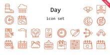 Day Icon Set. Line Icon Style. Day Related Icons Such As Calendar, Rain, Just Married, Balloons, Tax, Clock, Heart, Mustache, Cupid, Cloud, Planet Earth, Love Birds, Tic Tac Toe, Beach, Boots