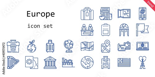 europe icon set. line icon style. europe related icons such as news, eiffel tower, flag, suitcase, maps, earth globe, harp, google maps, planet earth, greece, parthenon, travel, map