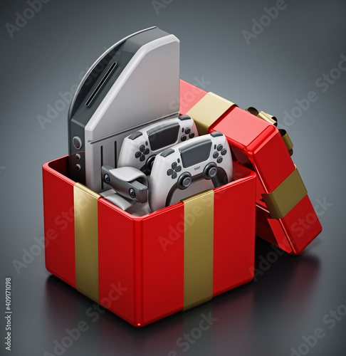 Generic video game console and controllers inside giftbox. 3D illustration © Destina