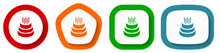 Cake Vector Icon Set, Flat Design Buttons On White Background For Webdesign And Mobile Applications