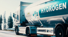 Hydrogen Logistics Concept. Truck With Gas Tank Trailer On The Road Lined With Solar Power Plants. 3d Rendering