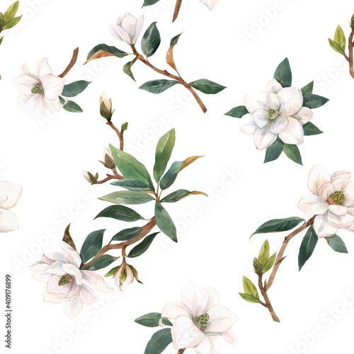 Photo Beautiful vector seamless pattern with hand drawn watercolor white magnolia flowers