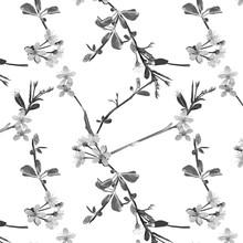 Cherry Tree Delicate Fragile Seamless Pattern In Grey Color: Leaves, White Flowers And Branches On White Background.