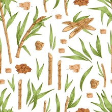 Seamless Botanical Pattern With Piles And Cubes Of Brown Sugar, Cane Leaves And Branches. Endless Repeatable Texture With Sugarcane. Hand-drawn Vector Illustration On White Background