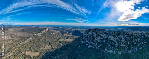 Aerial view of the Pic Saint Loup summit  #409182074