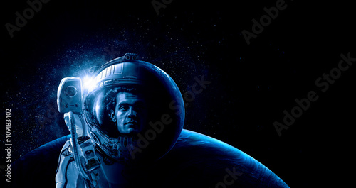 Obraz Astronaut at spacewalk . Mixed media - fototapety do salonu