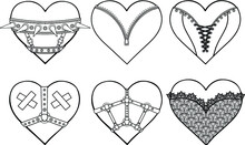 Set Of Animation Hearts In Erotic Clothes And Accessories. Latex, Lace, Collar, Corset. Template For Erotic Content. Vector Illustration Isolated On A White Background. Print, Poster, T-shirt,