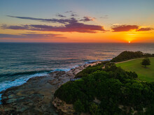 Early Morning Seascape Flight Over The Haven At Terrigal