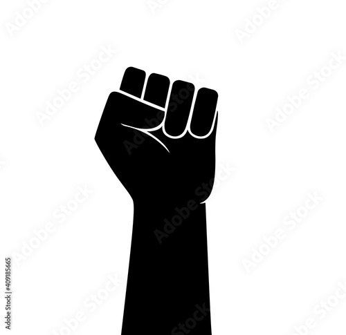 Fotografia Raised fist vector icon. Human hand up in the air