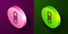 Isometric Line Climber Rope Icon Isolated On Purple And Green Background. Extreme Sport. Sport Equipment. Circle Button. Vector Illustration.