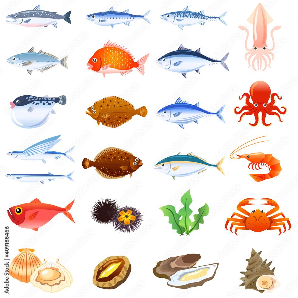Fototapeta 海鮮セット 魚介類 食べ物