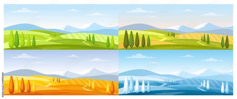 Fototapeta Cartoon summer spring autumn winter scenes with green grassland meadow, blue snow hills, yellow wild fields, panorama scenery background, Nature field landscape in four seasons.