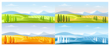 Cartoon Summer Spring Autumn Winter Scenes With Green Grassland Meadow, Blue Snow Hills, Yellow Wild Fields, Panorama Scenery Background, Nature Field Landscape In Four Seasons.