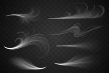 White Wind Set On Transparent Background