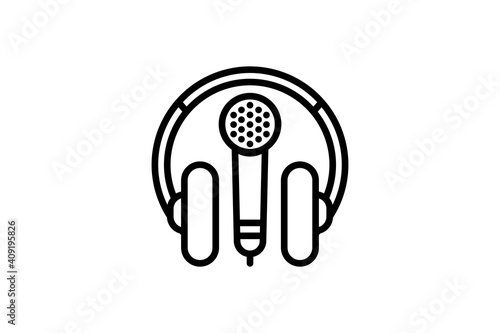 Headphones and microphone icon Wallpaper Mural