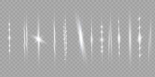 White Horizontal Lens Flares Pack. Laser Beams, Horizontal Light Rays. Beautiful Light Flares.